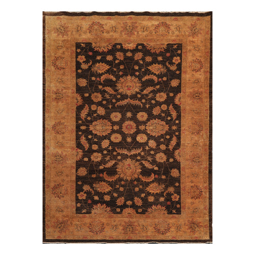 6' x9'  Chocolate Gold Orange Color Hand Knotted Persian 100% Wool Traditional Oriental Rug