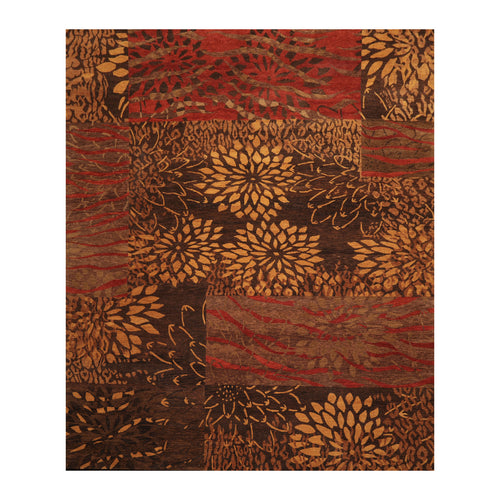 7' 11''x9' 11'' Brown Gold Caramel Color Hand Knotted Tibetan 100% Wool Modern & Contemporary Oriental Rug