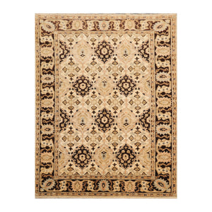 4' x5'  Beige Chocolate Taupe Color Hand Knotted Persian 100% Wool Traditional Oriental Rug