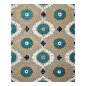 7' x9'  Gray Turquoise Chocolate Color Hand Made Persian Cotton Modern & Contemporary Oriental Rug