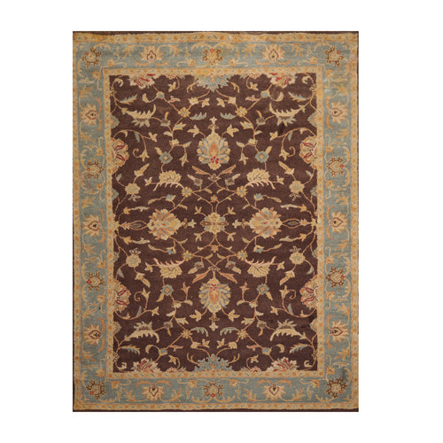 8' x11'  Brown Aqua Gold Color Hand Tufted Persian 100% Wool Traditional Oriental Rug