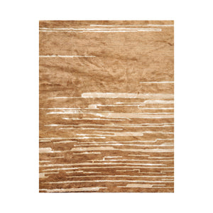 6' x8' 11'' Camel Ivory Brown Color Hand Knotted Tibetan Jute & Art Silk Modern & Contemporary Oriental Rug