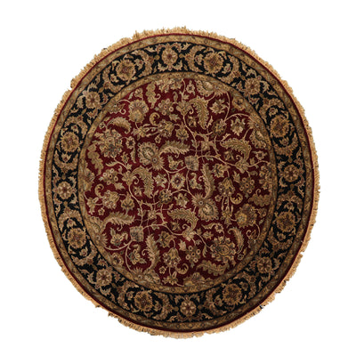 8' x8'  Burgundy Black Brown Color Hand Knotted Persian 100% Wool Traditional Oriental Rug