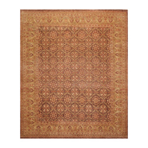 8' x9'  Brown Sage Beige Color Hand Knotted Persian 100% Wool Traditional Oriental Rug