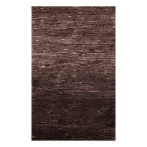 4' x6'  Tone on Tone Chocolate Brown Color Hand Knotted Tibetan Wool and Silk Modern & Contemporary Oriental Rug