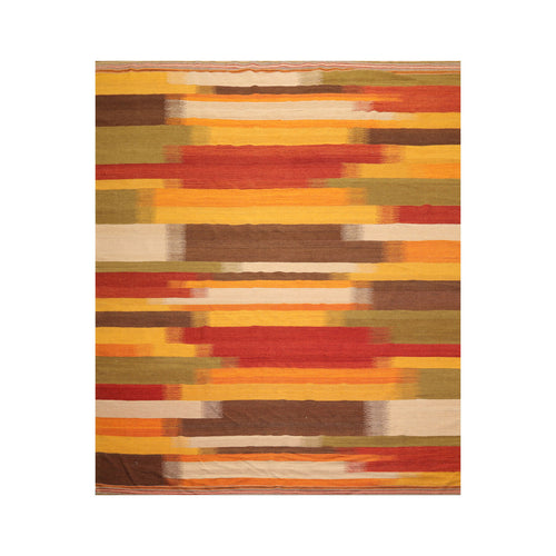 7' x9'  Gold Sage Brown Color Hand Woven Flat Weave 100% Wool Modern & Contemporary Oriental Rug