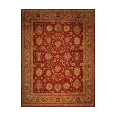 13' x16'  Burnt Orange Gold Gray Color Hand Knotted Persian 100% Wool Traditional Oriental Rug