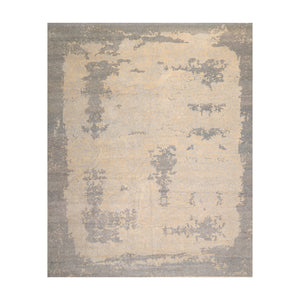 9' x12'  Beige Gray Slate Color Hand Knotted Tibetan 100% Wool Modern & Contemporary Oriental Rug