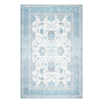 5' x7'  Gray Teal Brown Color Machine Made Micro Printed Polypropylene Traditional Oriental Rug