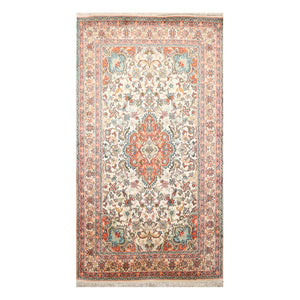 2' 6''x4' 4'' Ivory Rose Orange Color Hand Knotted Persian 100% Silk Traditional Oriental Rug