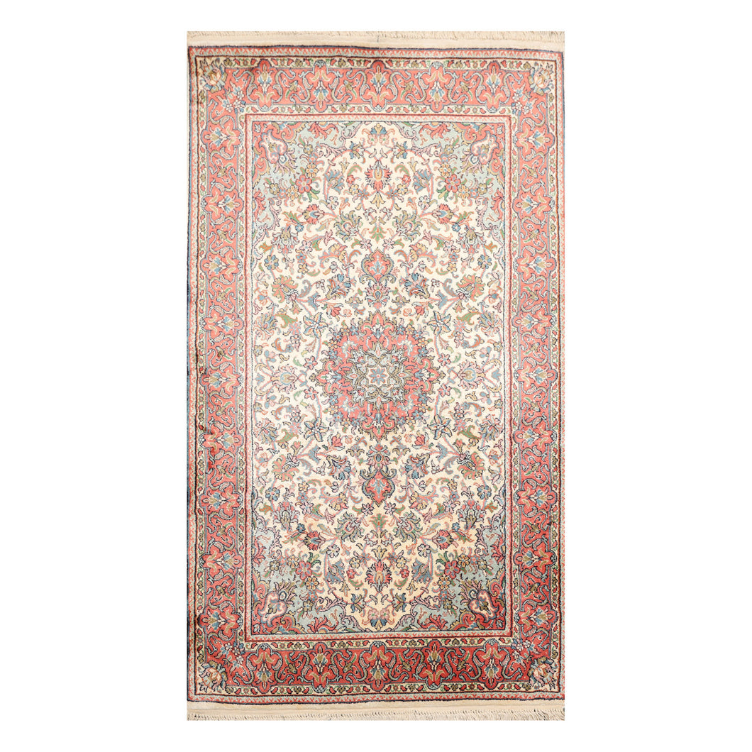 2' 6''x4' 2'' Ivory Rose Aqua Color Hand Knotted Persian 100% Silk Traditional Oriental Rug