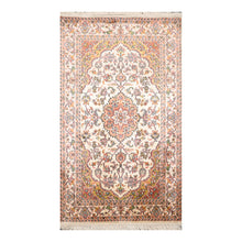 2' 7''x4' 3'' Ivory Salmon Mustard Color Hand Knotted Persian 100% Silk Traditional Oriental Rug