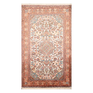 2' 8''x4' 3'' Ivory Salmon Blue Color Hand Knotted Persian 100% Silk Traditional Oriental Rug