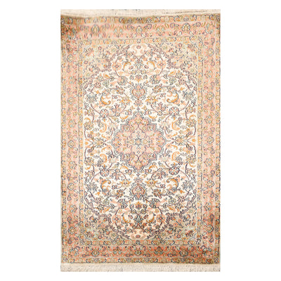 2' 7''x4'  Ivory Rose Green Color Hand Knotted Persian 100% Silk Traditional Oriental Rug