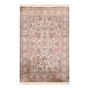 2' 7''x3' 11'' Ivory Rose Brown Color Hand Knotted Persian 100% Silk Traditional Oriental Rug