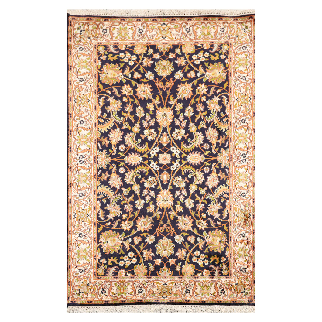 2' 6''x4' 1'' Midnight Blue Ivory Mustard Color Hand Knotted Persian 100% Silk Traditional Oriental Rug