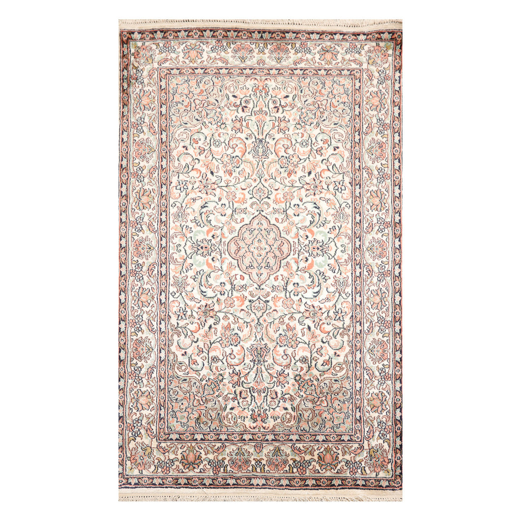 2' 6''x4'  Ivory Black Orange Color Hand Knotted Persian 100% Silk Traditional Oriental Rug