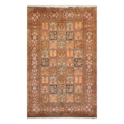 4' x6' 1'' Peach Rose Moss Color Hand Knotted Persian 100% Silk Traditional Oriental Rug