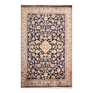 4' x6'  Navy Rose Green Color Hand Knotted Persian 100% Silk Traditional Oriental Rug