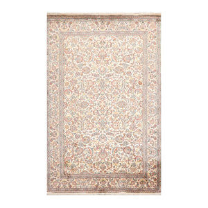 4' x6'  Ivory Mint Brown Color Hand Knotted Persian 100% Silk Traditional Oriental Rug