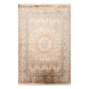 4' 1''x5' 10'' Beige Gray Peach Color Hand Knotted Persian 100% Silk Traditional Oriental Rug