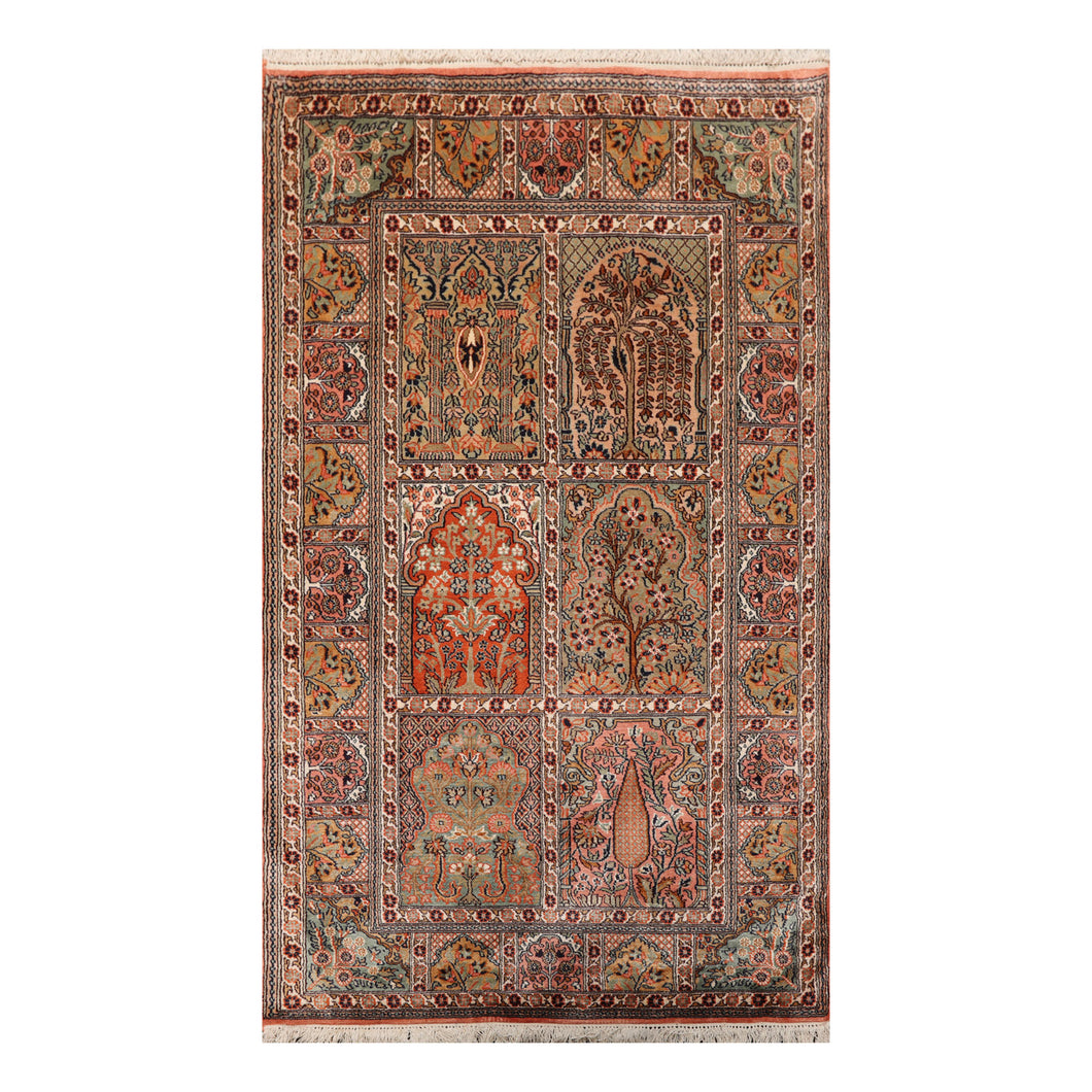 3' x4' 8'' Peach Beige Blue Color Hand Knotted Persian 100% Silk Traditional Oriental Rug