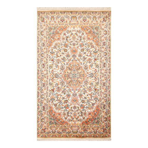 2' 7''x4' 2'' Beige Peach Aqua Color Hand Knotted Persian 100% Silk Traditional Oriental Rug