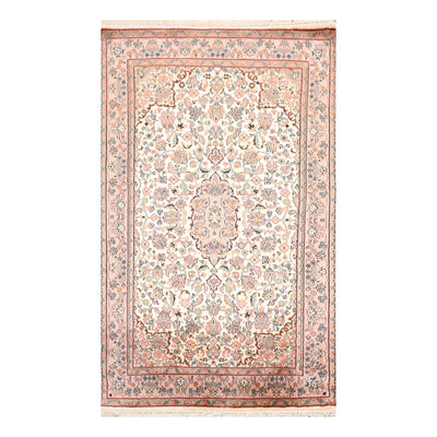 2' 7''x4' 1'' Ivory Rose Aqua Color Hand Knotted Persian 100% Silk Traditional Oriental Rug