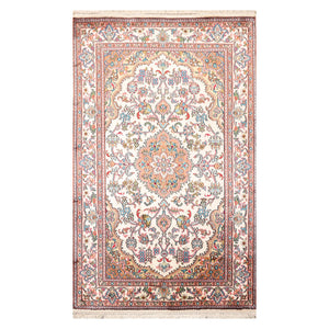 2' 7''x4' 1'' Beige Taupe Turquoise Color Hand Knotted Persian 100% Silk Traditional Oriental Rug