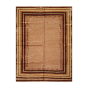8' x11'  Camel Tan Brown Color Hand Knotted Persian 100% Wool Modern & Contemporary Oriental Rug