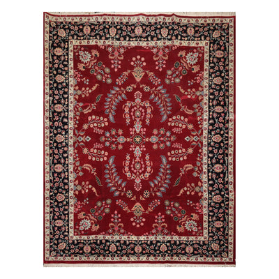 9' 2''x12' 5'' Burgundy Black Ivory Color Hand Knotted Persian 100% Wool Traditional Oriental Rug