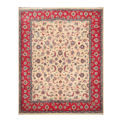 8' 2''x10' 4'' Beige Raspberry Gray Color Hand Knotted Persian 100% Wool Traditional Oriental Rug