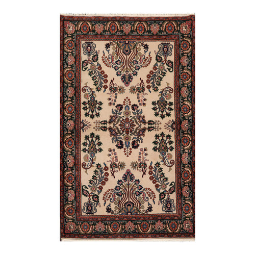 4' x6'  Beige Green Rust Color Hand Knotted Persian 100% Wool Traditional Oriental Rug