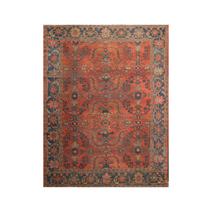 8' 5''x11' 9'' Orange Blue Green Color Hand Knotted Persian 100% Wool Traditional Oriental Rug