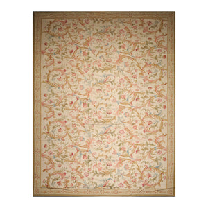 12' 1''x18' 6'' Beige Mustard Blue Color Hand Woven Needlepoint  100% Wool Traditional Oriental Rug