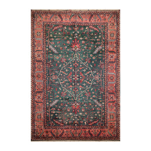 9' 10''x13' 11'' Green Salmon Ivory Color Hand Knotted Persian 100% Wool Traditional Oriental Rug
