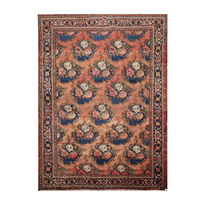 8' 9''x11' 4'' Rust Navy Brown Color Hand Knotted Persian 100% Wool Traditional Oriental Rug