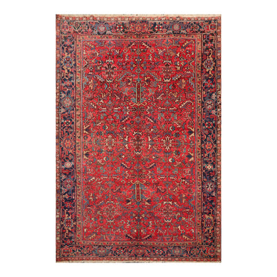 8' x11' 3'' Coral Navy Beige Color Hand Knotted Persian 100% Wool Traditional Oriental Rug