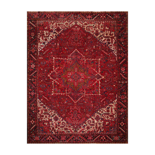 10' 5''x12' 7'' Red Charcoal Ivory Color Hand Knotted Persian 100% Wool Traditional Oriental Rug