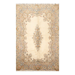 5' 4''x9' 2'' Beige Blue Brown Color Hand Knotted Persian 100% Wool Traditional Oriental Rug