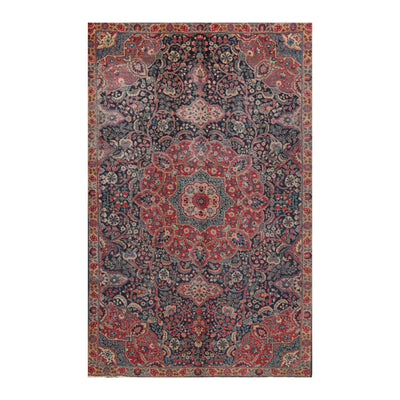 5' 9''x9' 7'' Rust Navy Beige Color Hand Knotted Persian 100% Wool Traditional Oriental Rug
