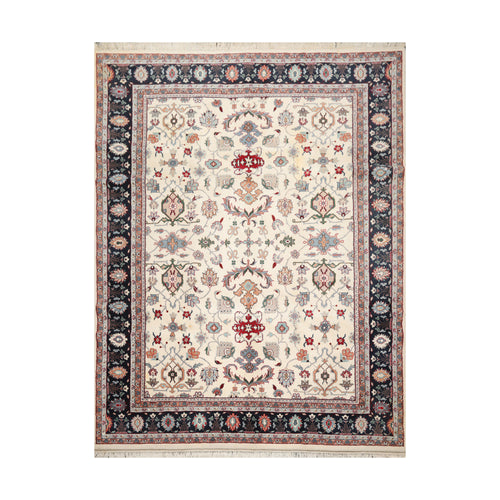 8' 11''x11' 8'' Ivory Navy Blue Color Hand Knotted Persian 100% Wool Traditional Oriental Rug
