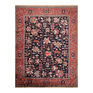 9' 1''x11' 5'' Midnight Blue  Rust Rose Color Hand Knotted Persian 100% Wool Traditional Oriental Rug