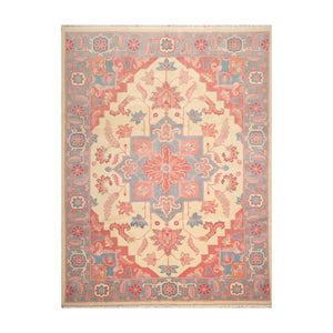 8' 11''x11' 8'' Ivory Blue Rose Color Hand Knotted Persian 100% Wool Traditional Oriental Rug