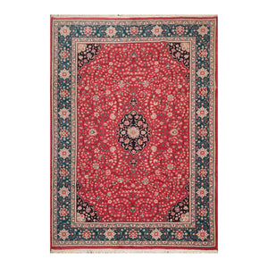 8' 6''x11' 6'' Rose Teal Black Color Hand Knotted Persian 100% Wool Traditional Oriental Rug