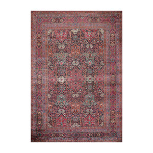 9' 5''x13' 6'' Navy Rose Turquoise Color Hand Knotted Persian 100% Wool Traditional Oriental Rug