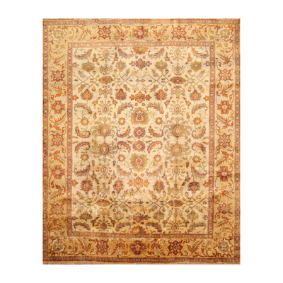 7' 10''x9' 11'' Beige Gold Mustard Color Hand Knotted Persian 100% Wool Traditional Oriental Rug