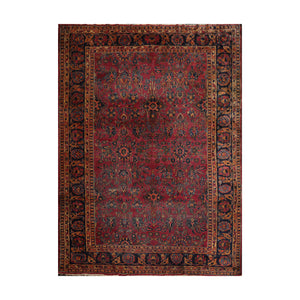 9' 1''x12' 3'' Rose Navy Gold Color Hand Knotted Persian 100% Wool Traditional Oriental Rug