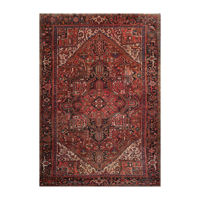 9' 3''x12' 4'' Rust Brown Ivory Color Hand Knotted Persian 100% Wool Traditional Oriental Rug