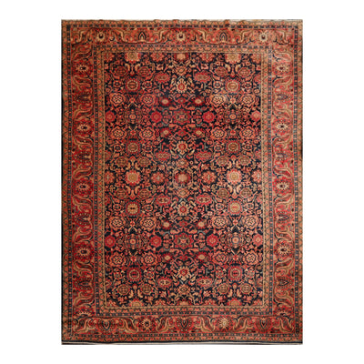 8' 7''x11' 10'' Navy Rust Gray Color Hand Knotted Persian 100% Wool Traditional Oriental Rug